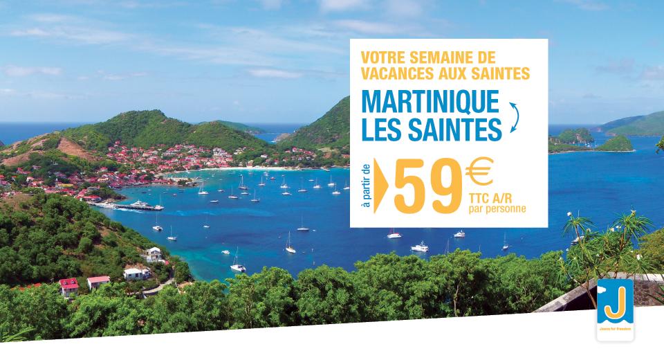 Voyagez entre la Martinique et Les Saintes à partir de 59€ aller retour